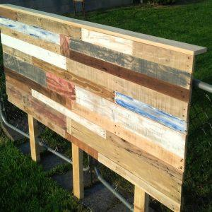 diy colorful pallet queen headboard