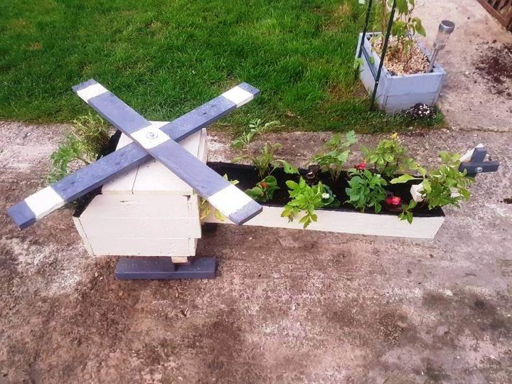 handmade wooden pallet helicopter garden planter