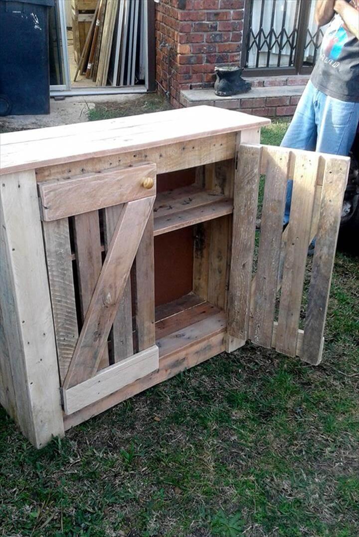 handmade wooden pallet storage cabinet