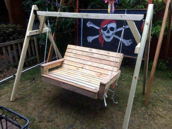handcrafted wooden pallet swing