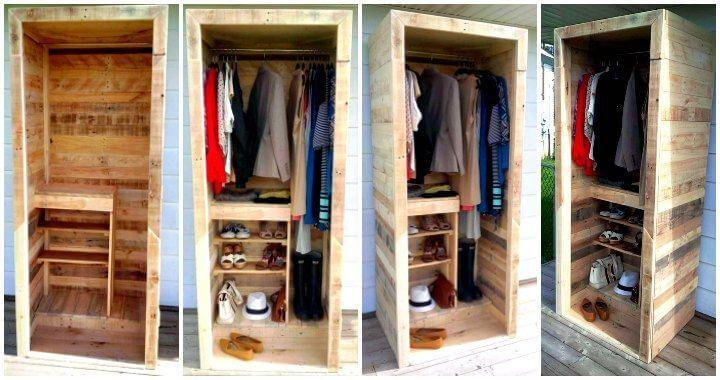 Built a Pallet Wardrobe or Pallet Closet - Easy Pallet Ideas