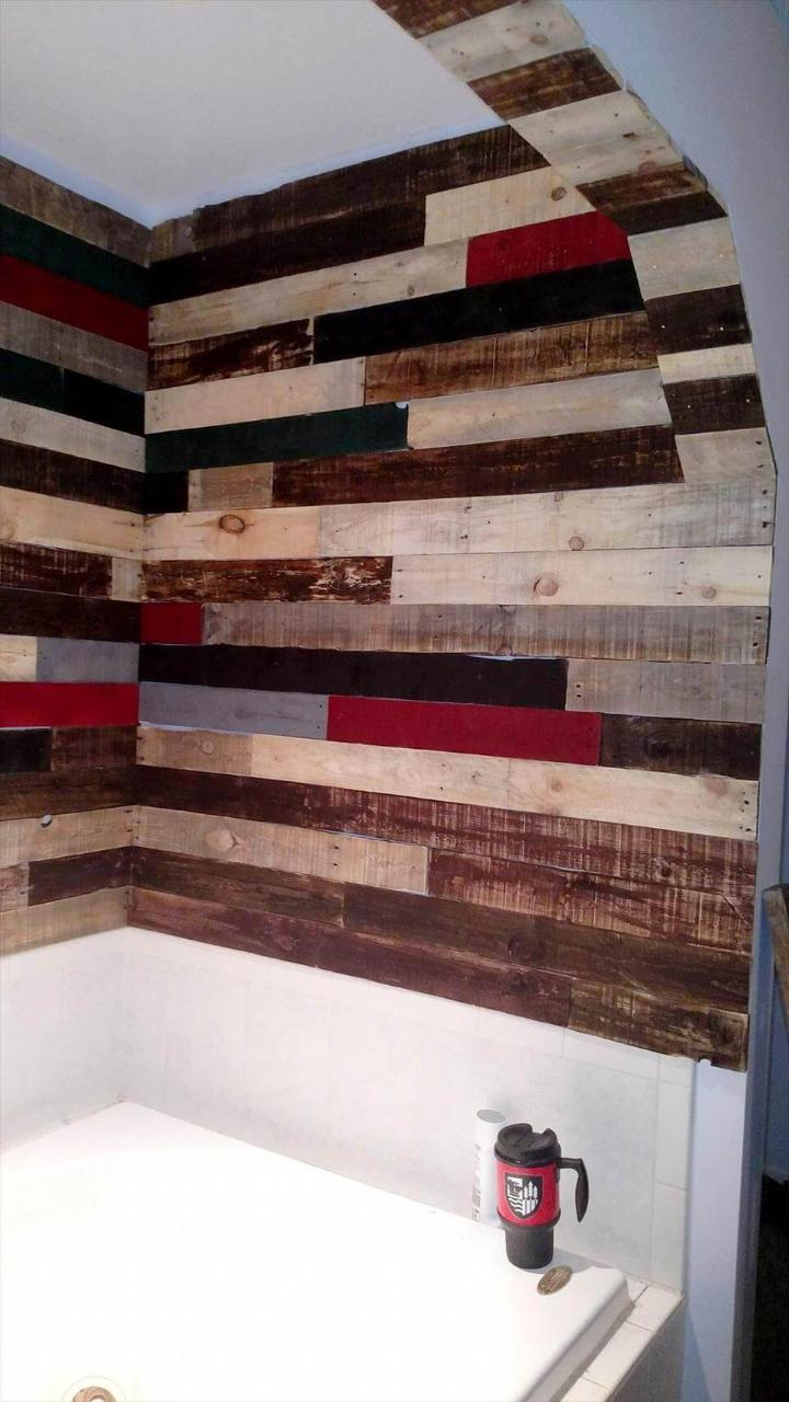 pallet bathroom wall paneling project