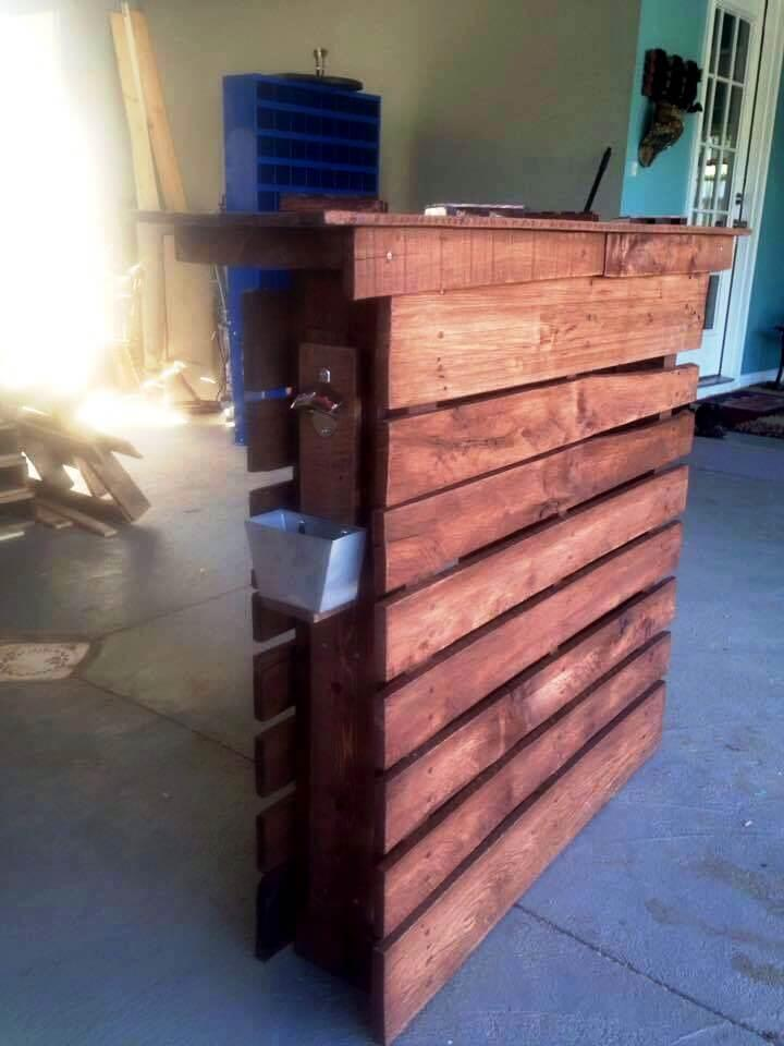handmade wooden pallet bar table