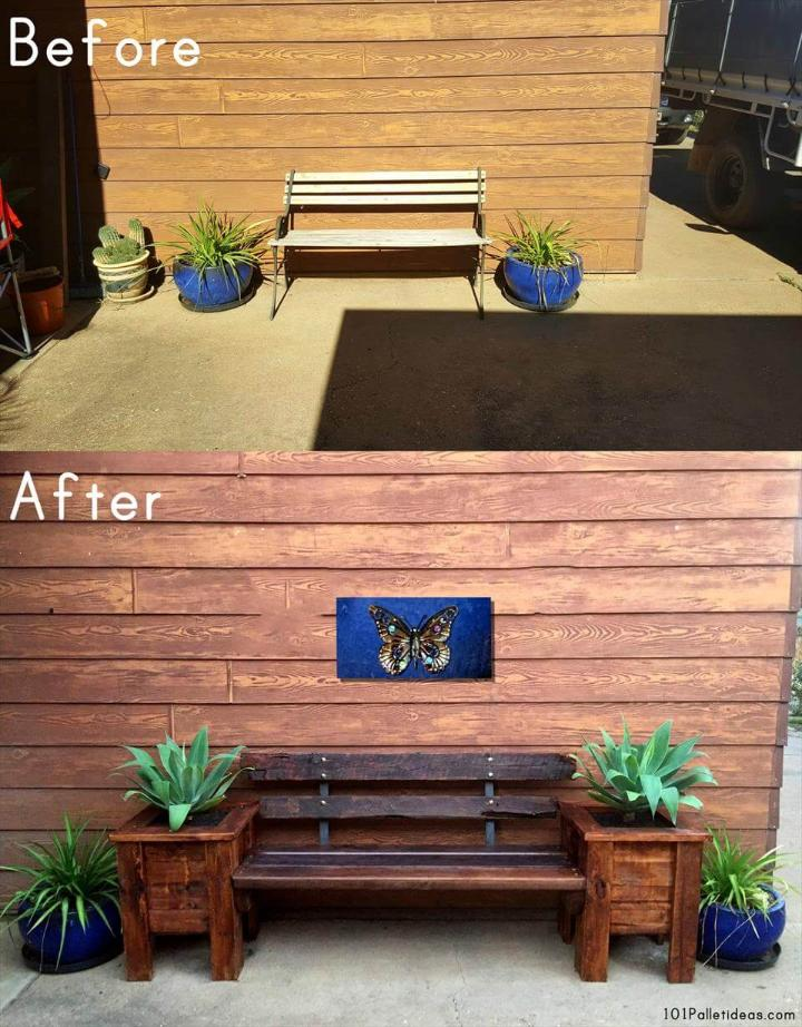 before and after pallet bench and planter boxes