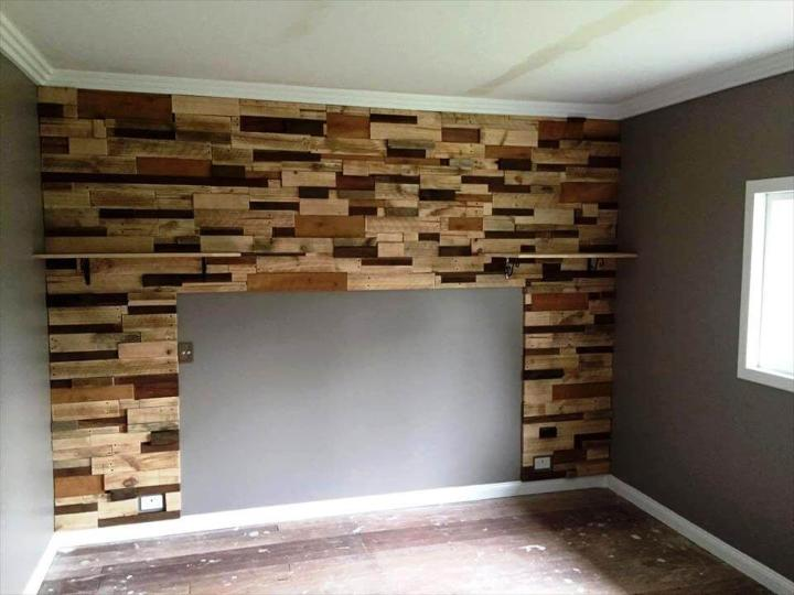 wooden pallet bedroom accent wall