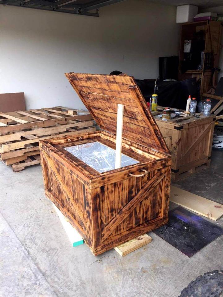 scorched pallet cooler made of pallets