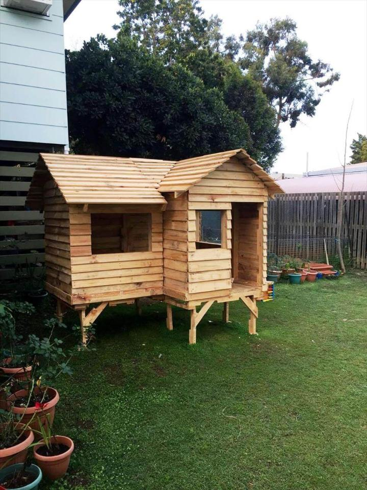repurposed wooden pallet cubby house