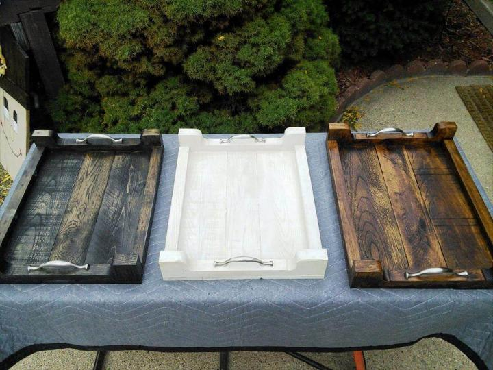 upcycled wooden pallet serving trays