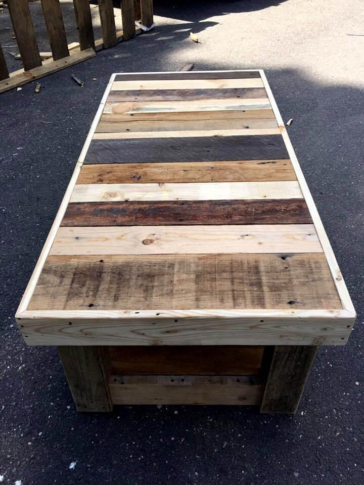 custom built wooden pallet coffee table with glass top
