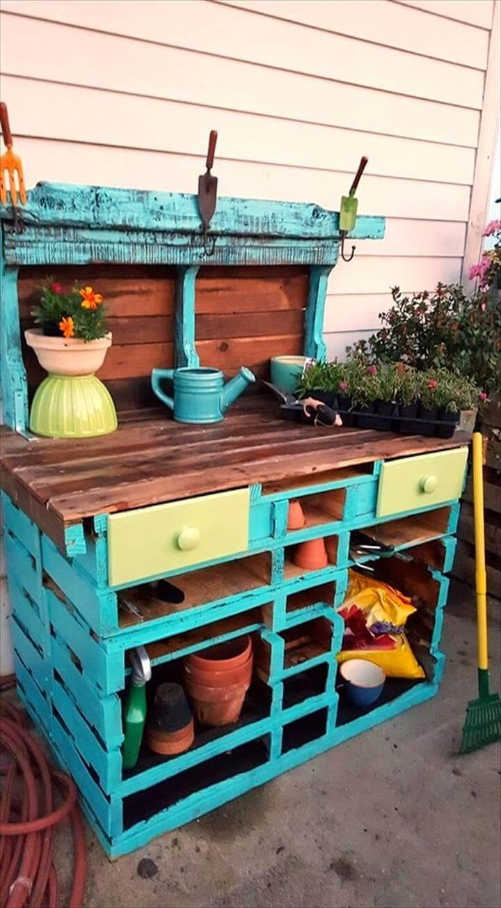 Diy Pallet Potting Table Easy Pallet Ideas
