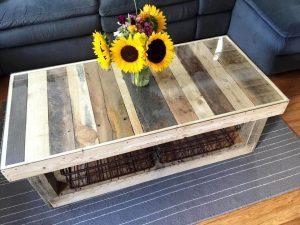 handmade pallet custom coffee table with glass top