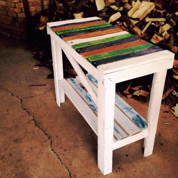 Recycled Pallet Fun Colored Hallway Table