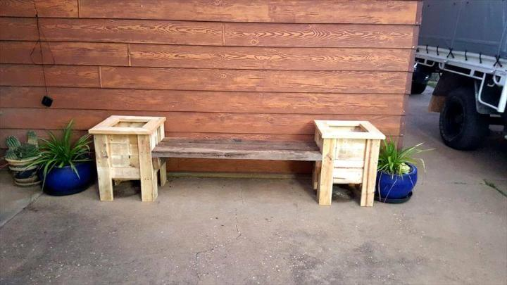 low-cost wooden pallet seat and planter boxes