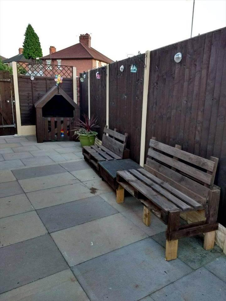 handmade pallet benches