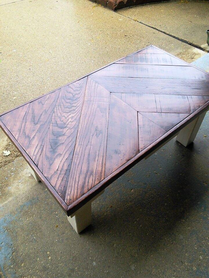 pallet chevron coffee table with stained top