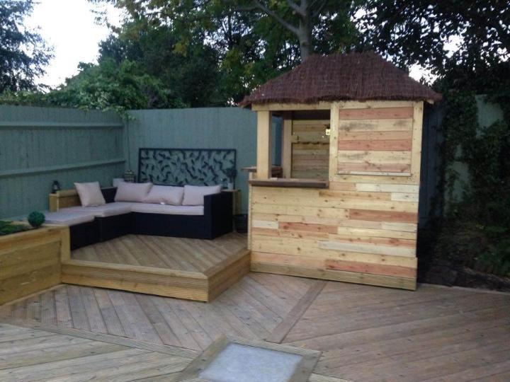 sturdy wooden pallet deck bar