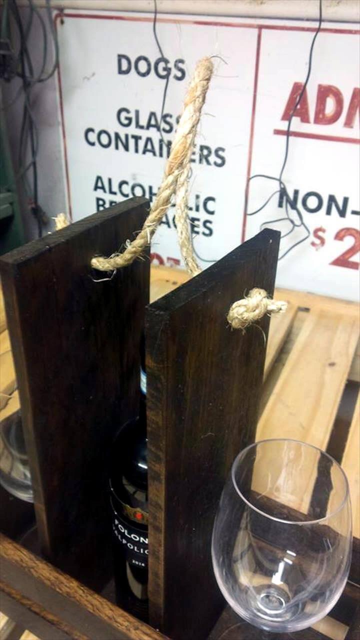 hand-built wooden pallet drink caddy