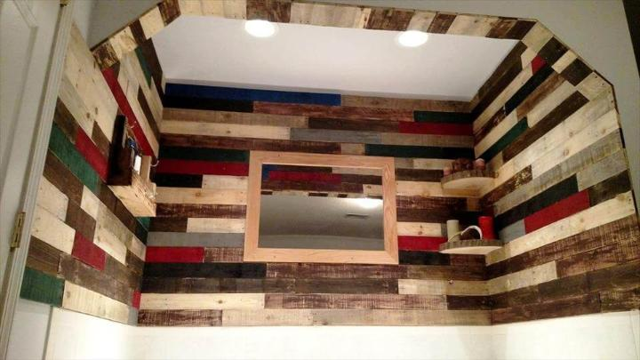 DIY pallet wall paneling project around the jacuzzi bath tub