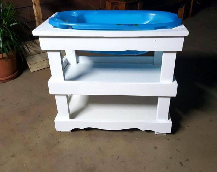white painted pallet baby bath stand