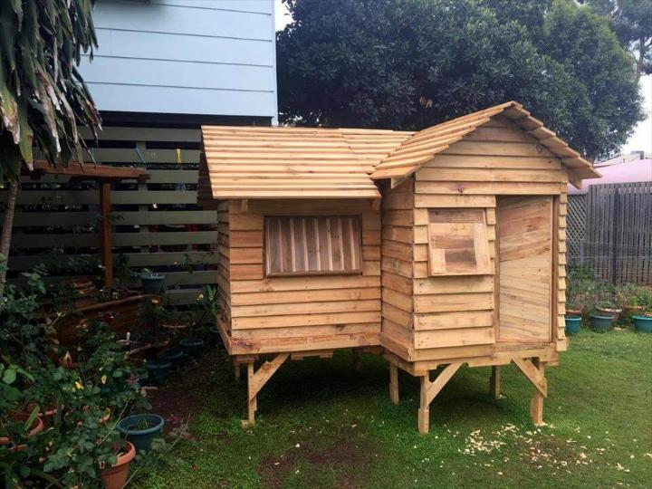 low-cost wooden pallet cubby house