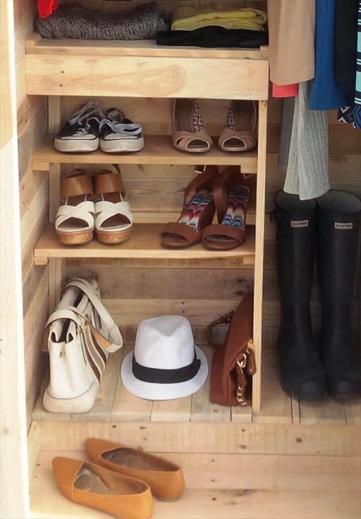 handmade wooden pallet wardrobe or closet