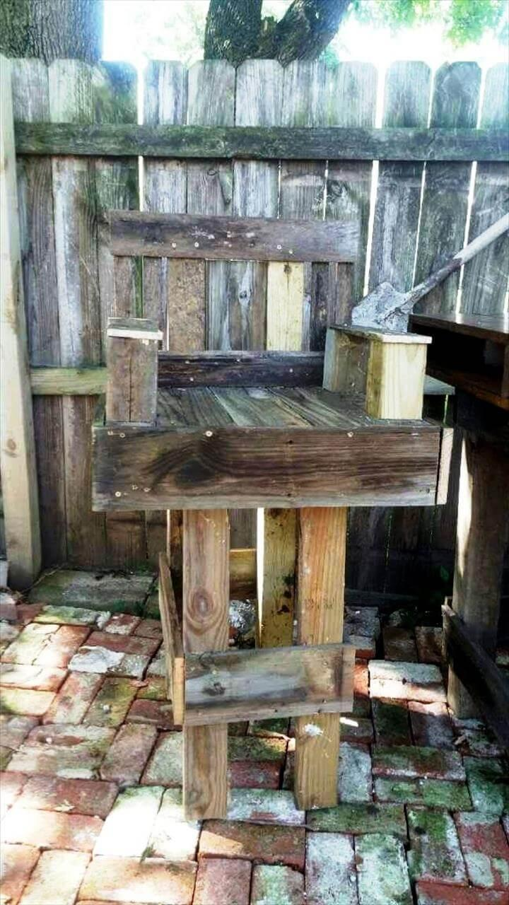 rustic wooden pallet outdoor bar chair
