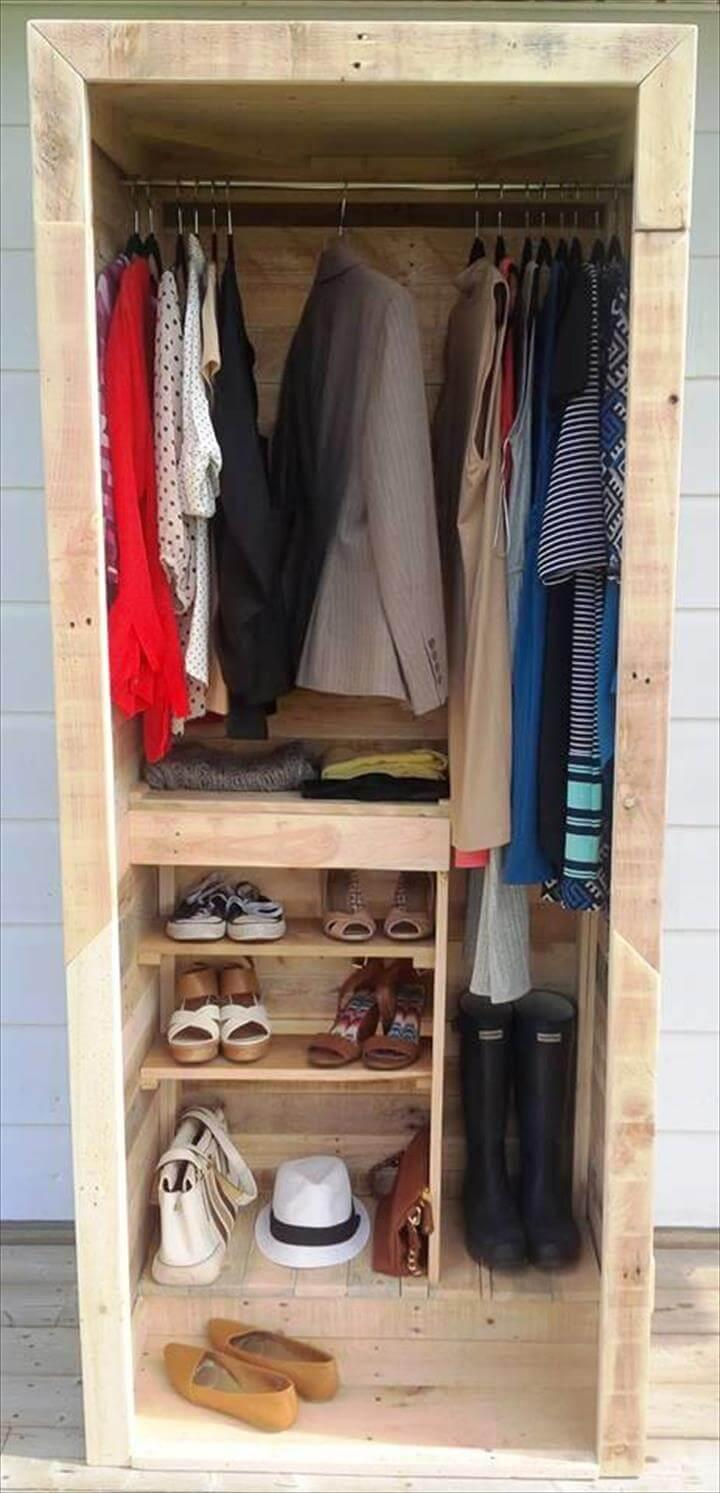 upcycled wooden pallet wardrobe or closet