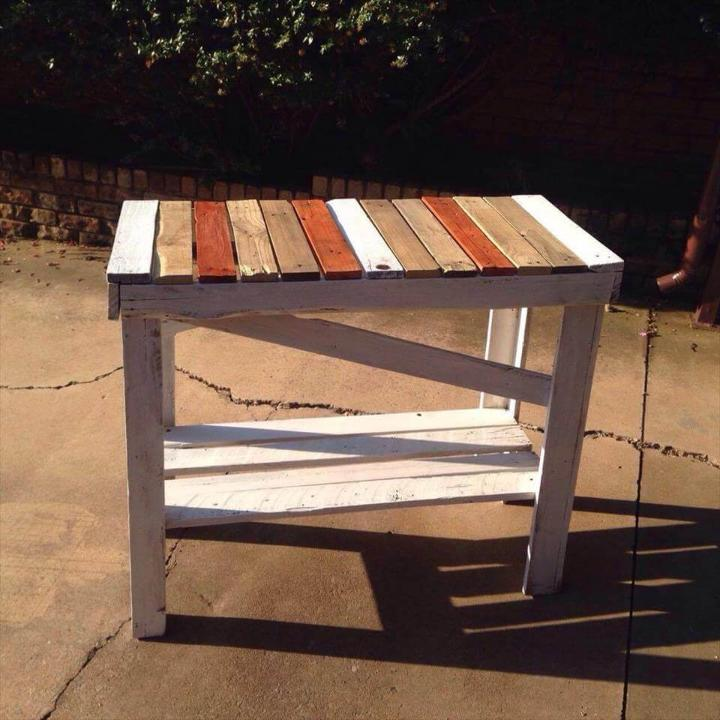 repurposed wooden pallet fun colored hallway table