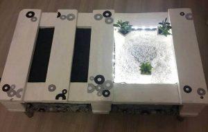 reclaimed pallet white coffee table on short metal legs