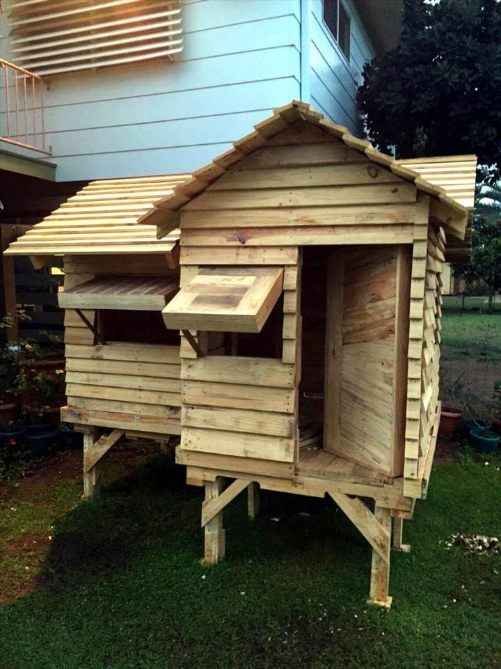 upcycled wooden pallet cubby house