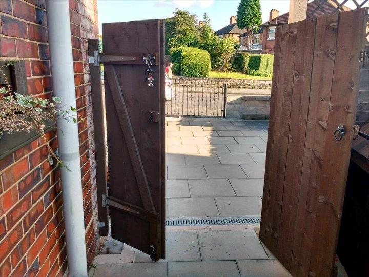 double garden gate made of pallets