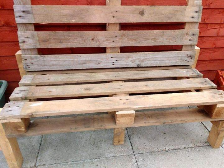 rustic wooden pallet patio bench