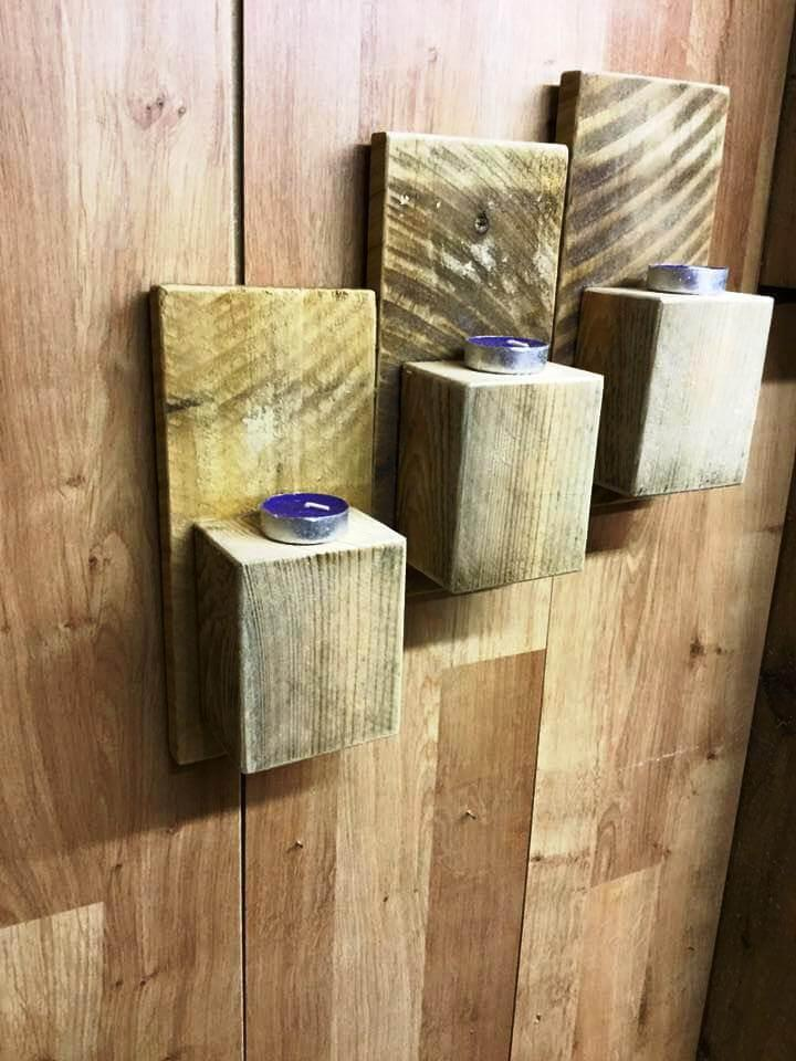 wall mounted pallet candle holders