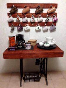 Pallet and Old Sewing Machine Base Coffee Station