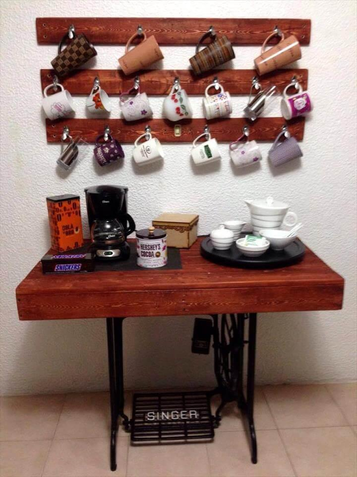 reclaimed wooden pallet and old sewing machine base coffee station