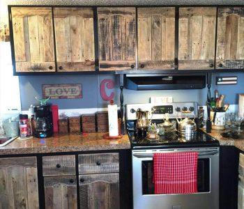 pallet kitchen cabinets done with pallets