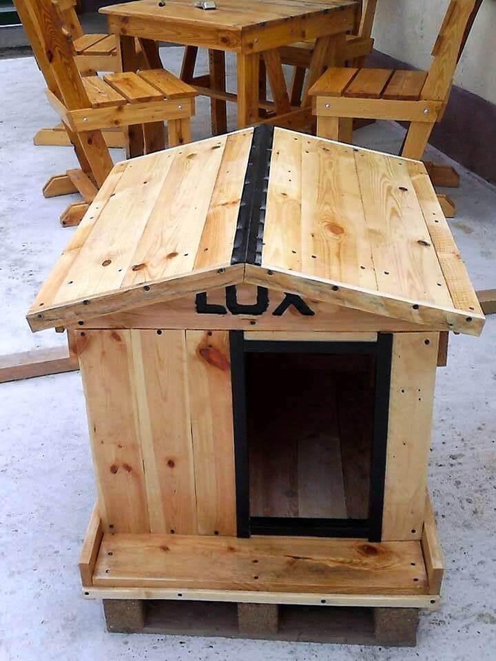 hand-built wooden pallet dog house