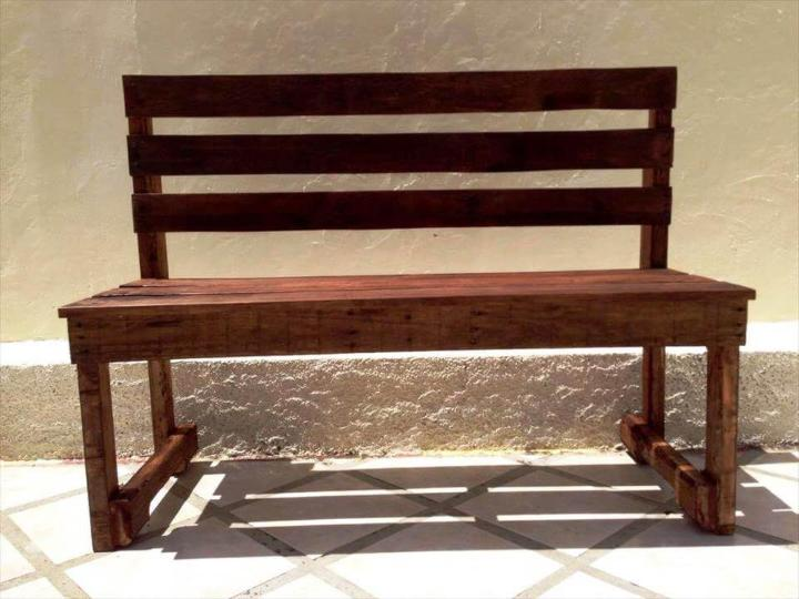 wooden bench made out of pallets