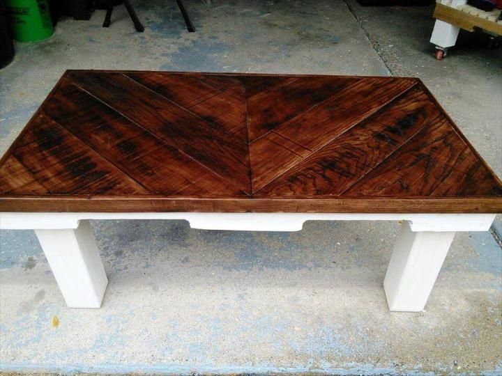 salvaged pallet chevron coffee table
