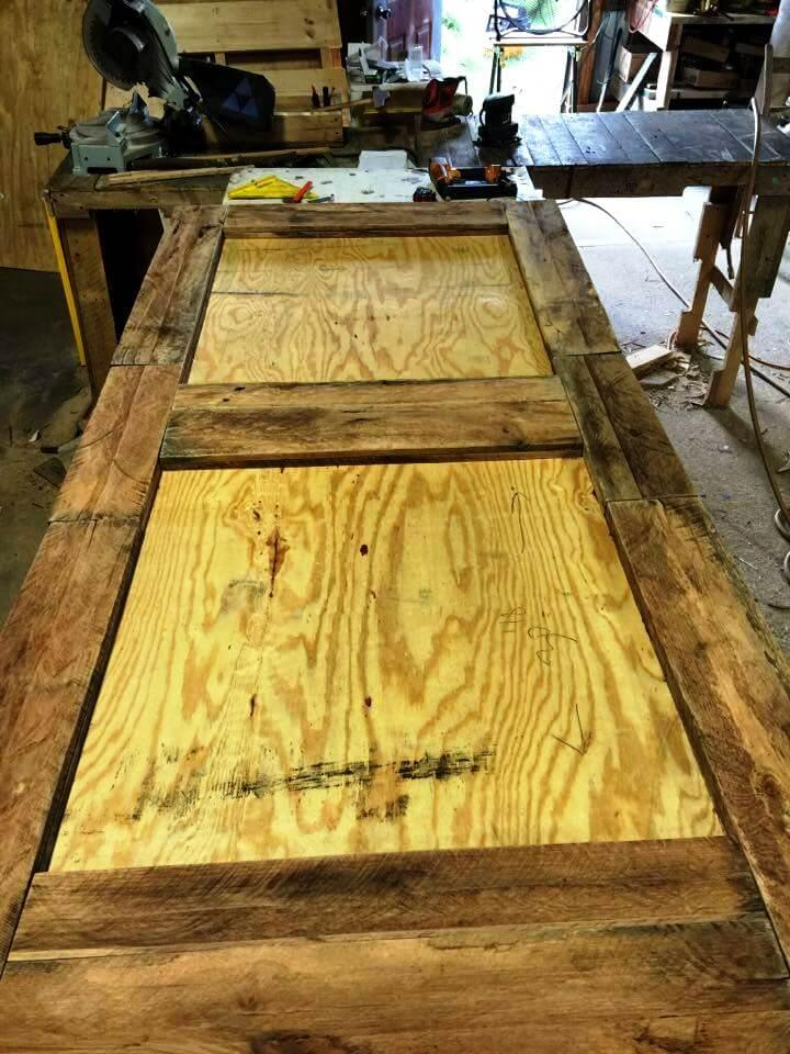 upcycled pallet door with plywood base