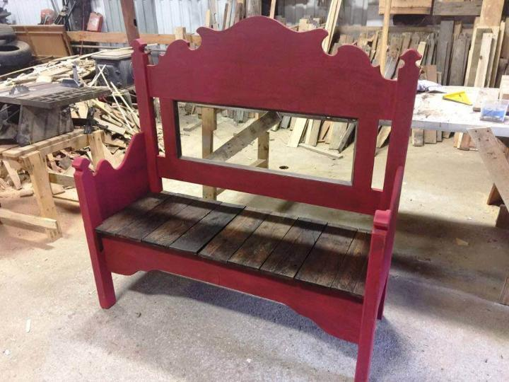 recycled pallet, headboard and footboard bench