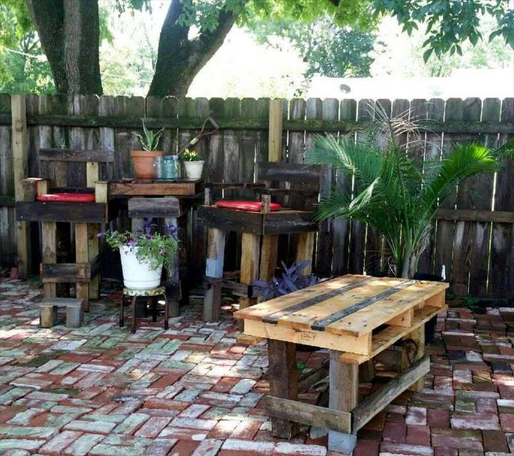 outdoor pallet bar table with 2 bar chairs