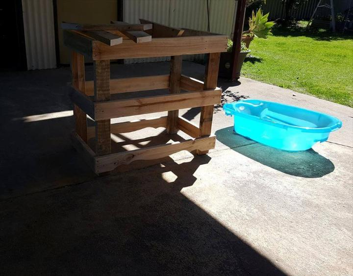 handcrafted wooden pallet baby bath stand