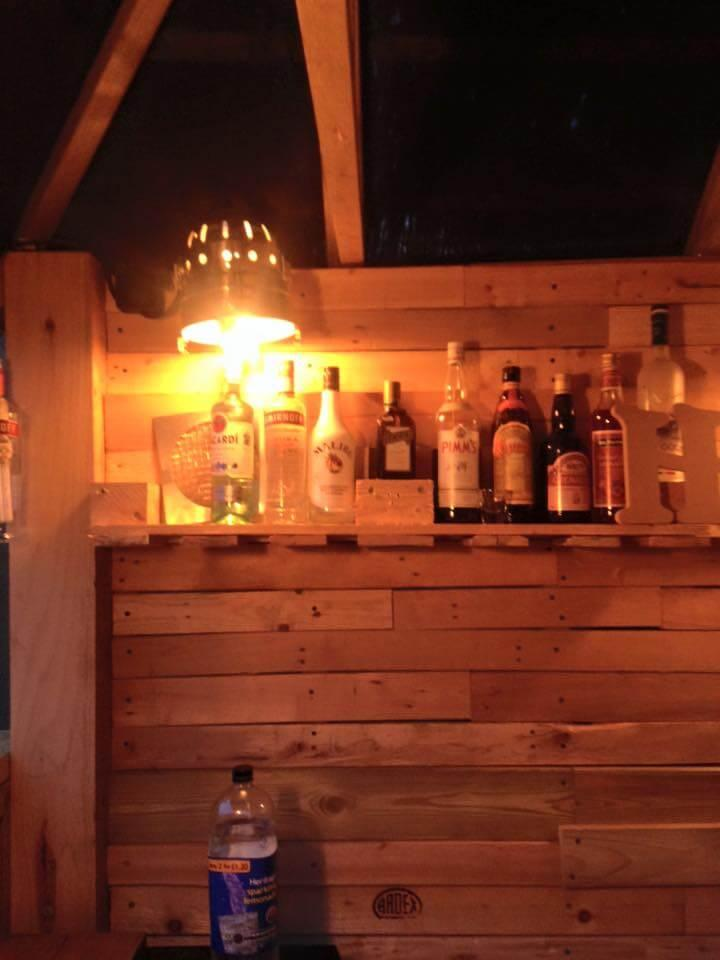 upcycled wooden pallet deck bar