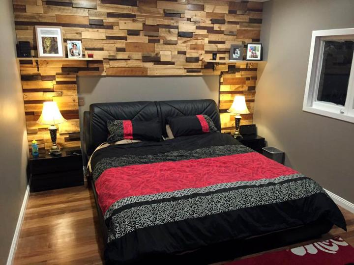 reclaimed repurposed pallet bedroom background feature wall