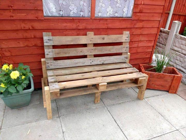 upcycled wooden pallet patio bench