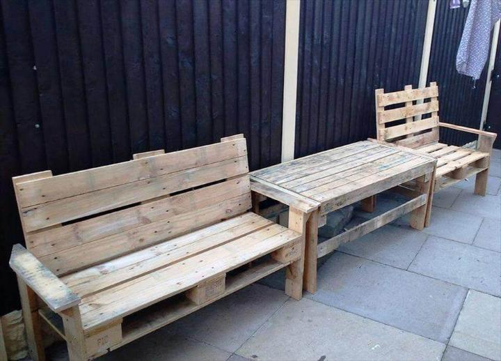 handcrafted wooden pallet benches and coffee table