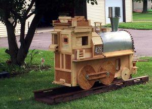 pallet garden train engine with railway track
