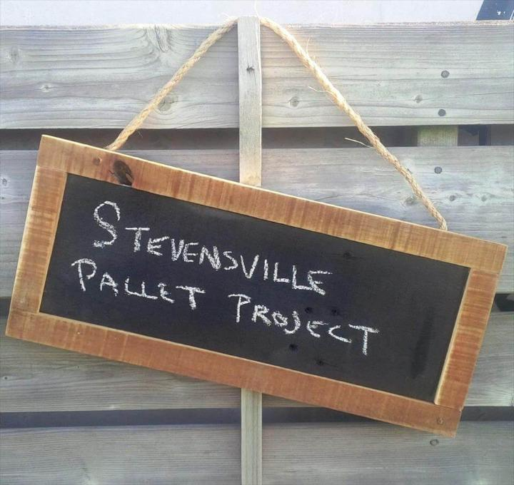 pallet-made chalkboard name plate