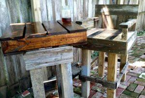 pallet outdoor bar table and bar chair